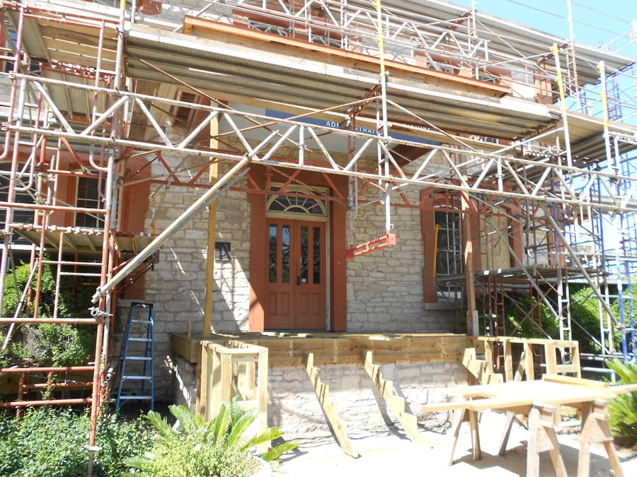 ANB exterior under renovation with scaffolding